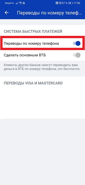 Система быстрых платежей банк ВТБ.